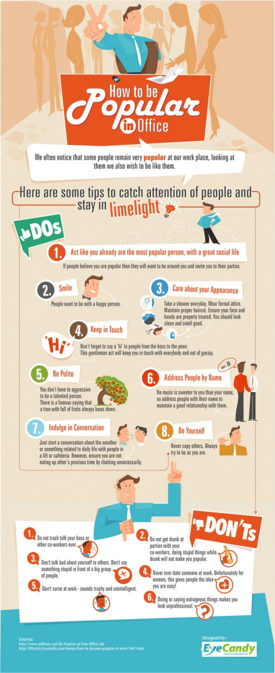 Jak byt popularni v praci - infografika