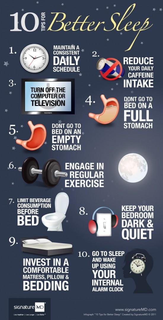 10 tipu pro lepsi spanek - infografika