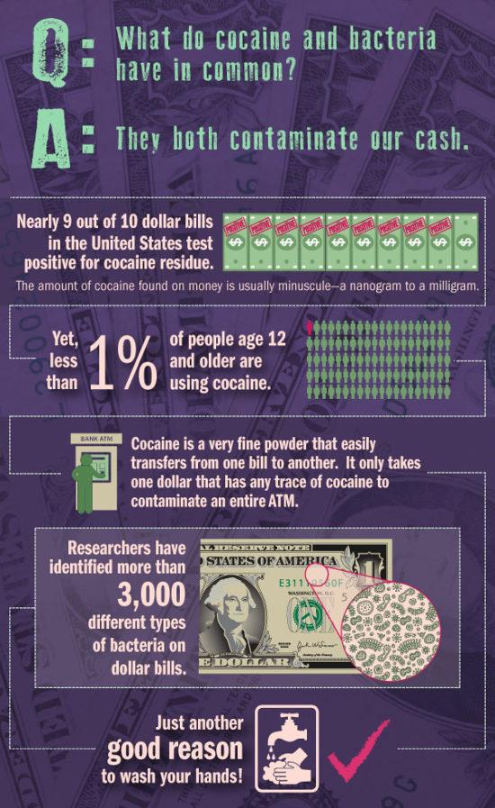 Bakterie a drogy na bankovkách.